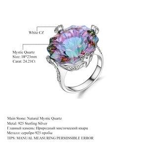 Image 5 - GEMS balet Natural Rainbow Mystic kwarcowy pierścionek koktajlowy 925 Sterling Silver nieregularne pierścienie z kamieniami szlachetnymi Fine Jewelry dla kobiet