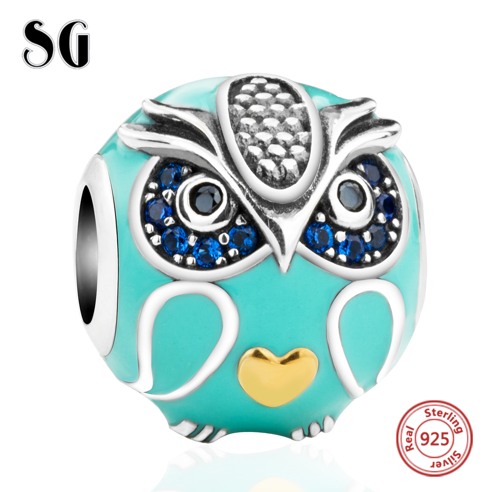 Silver Galaxy 925 Sterling Silver Enamel Funny Owl with Love Heart Beads Fit Original Pandora Charms Bracelet Fashion Jewelry