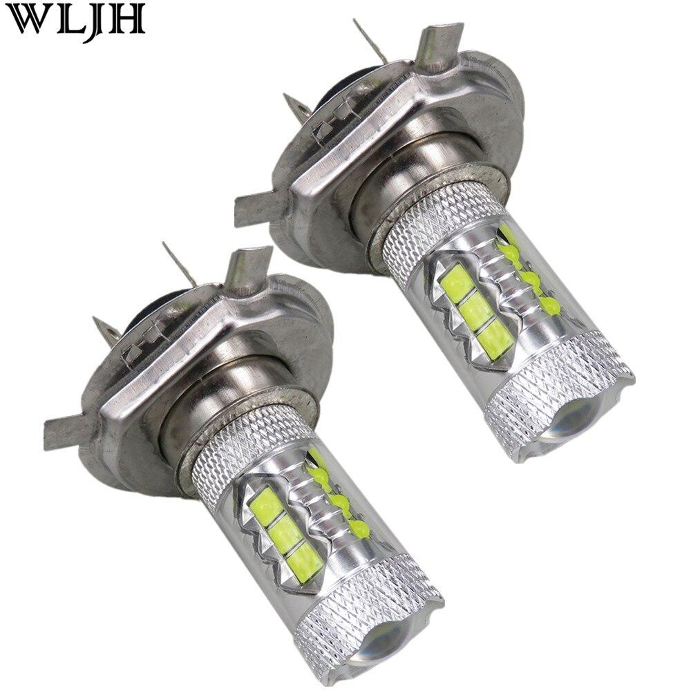 WLJH 2x 80W H4 Led Bulb Projector Lens Auto Car Lighting High Beam DRL Daytime Running Light Fog Driving Lamp 12v 24v 1200lumen