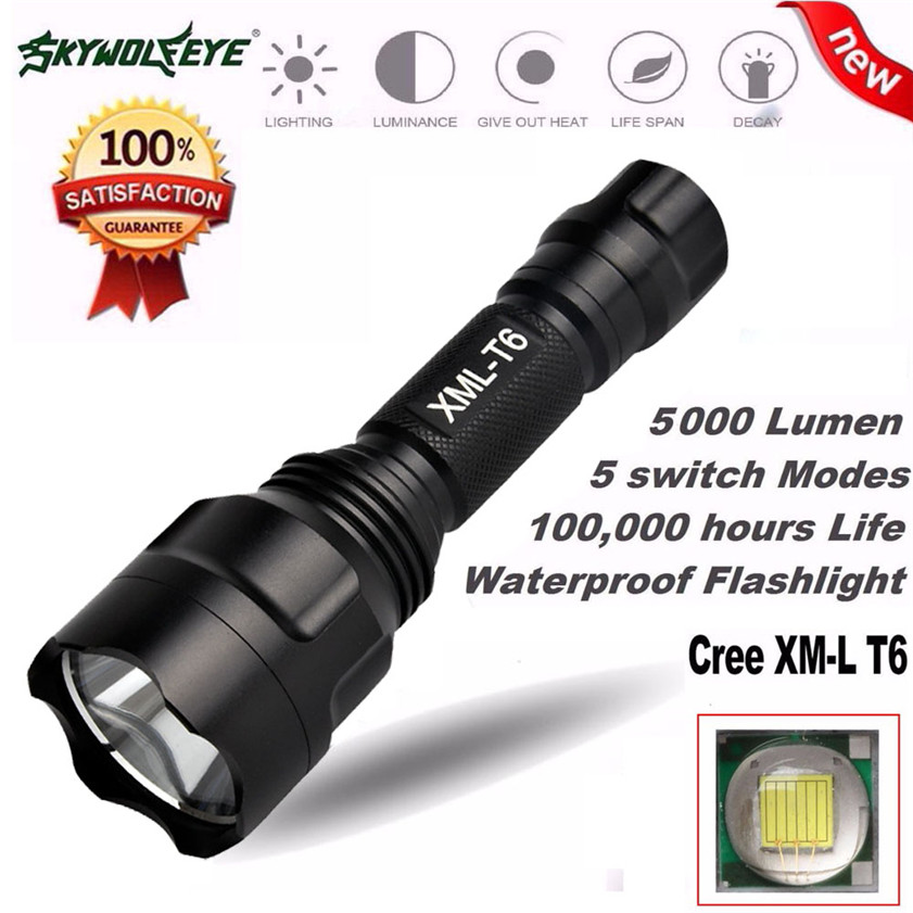 High Quality 5000Lm C8 CREE XM-L T6 LED 18650 Flashlight 5 Mode Torch Tactical Light Lamp cree xm l t6 bicycle light 6000lumens bike light 7modes torch zoomable led flashlight 18650 battery charger bicycle clip