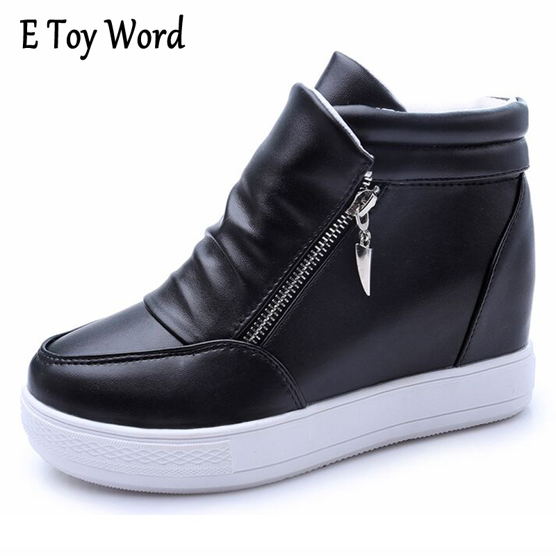 E TOY WORD 2017 Autumn Boots Women Ankle Boots Winter Shoes Woman Thick Heel Botas Mujer Women Shoes Side zipper Platform Boot e toy word fashion ankle boots women spring autumn shoes women lace up solid boots female height increasing platform botas mujer