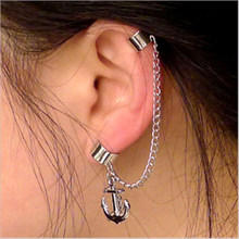 Silver Tassel Anchor Without Ear Piercing Ear Clip Male and Female Fashion Lovers Ear Ornaments 180119-19(China)