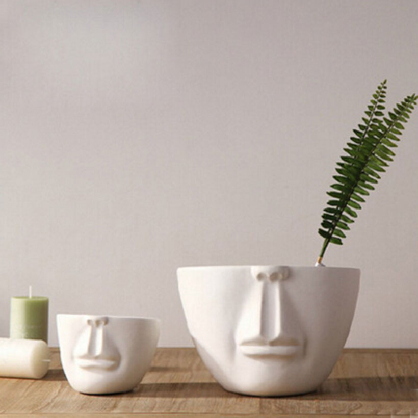 Man Face Flower Pots Planters Home Decoration Modern Desktop Decor Bar Shop Creative Diy Gifts White