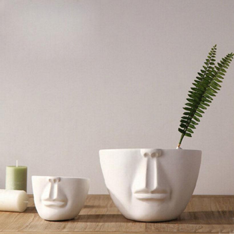 Man face flower pots planters home decoration modern desktop decor bar shop creative DIY gifts white ceramic pots