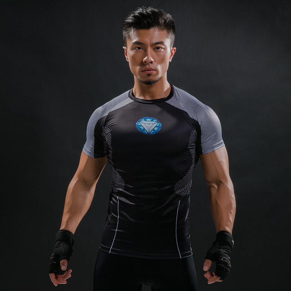 2018 NEW 3D Printed T-shirts Men Compression Shirts Short Sleeve Iron man Cosplay costume Fitness Male Crossfit Tops