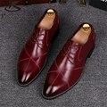 2017 натуральная кожа мужчины обувь указал бизнес свадебное платье увеличился оксфорд обувь Британский ретро обуви сша размер 8.5 красный черный