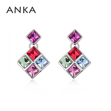 2017 fashion jewelry factory Austria square Crystal Stud Earring Best Crystals from Swarovski Gift earrings for women #94891(China)