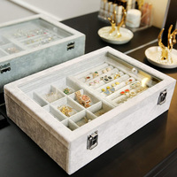 Velvet Display Case Box Earring Ring Organizer Jewelry Tray Storage Showcase with Clear Glass Lid Grey Jewelry Case Box