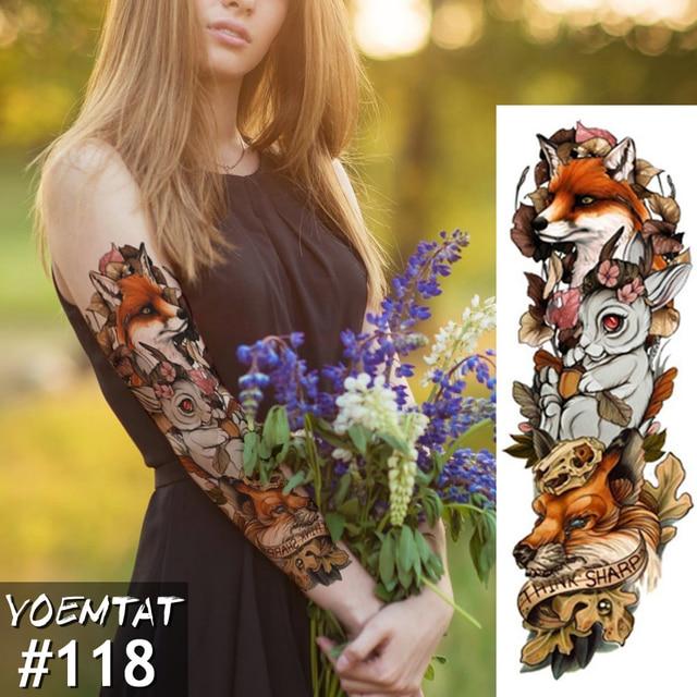 New 1 Piece Temporary Tattoo Sticker Fox Rabbit Full Flower Tattoo with Arm Body Art Big Large Fake Tattoo Sticker