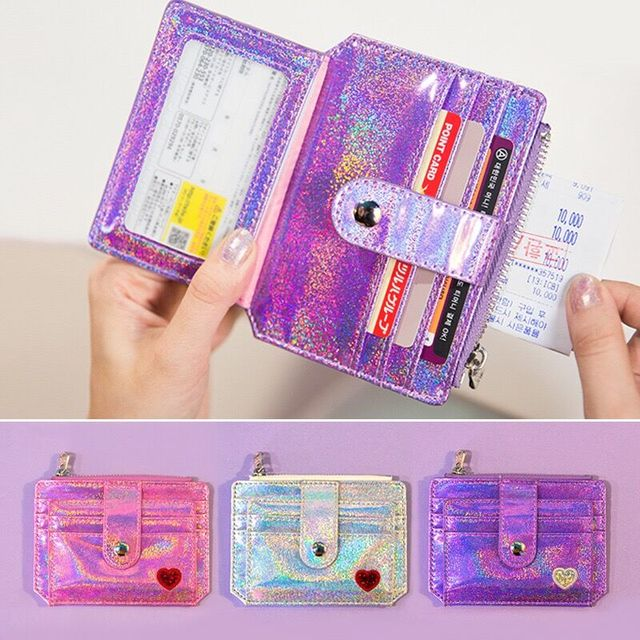 Bentoy Babysbreath Laser Shining Card Bag Girls Driver's license bag Heart Hasp ID Credit Card Holder Case Business Card Bags