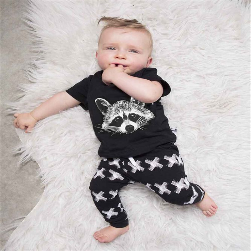 2016 New Autumn Summer Baby Boys clothing set short Sleeve Gary Fox t shirt +pants 2pcs/set Girls Casual set Baby Clothing