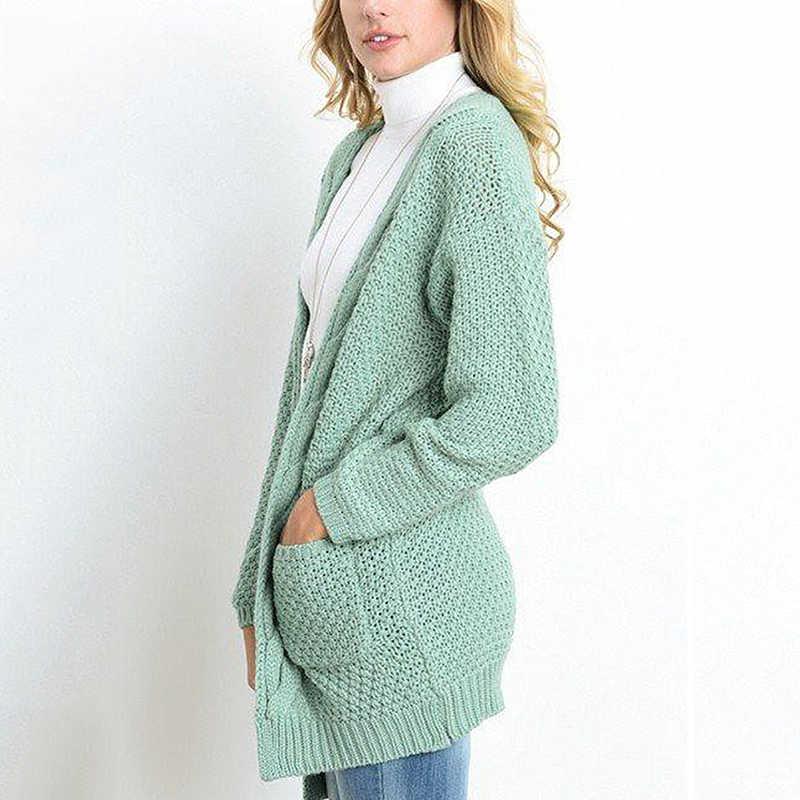 2019 Nuove donne Cardigan Autunno Inverno casual Allentato Tasche rosa Maglione donne Top Plus Size casaco feminino vestiti BLD1150