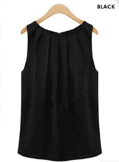 여성 탑과 블라우스 2019 민소매 쉬폰 라운드 넥 칼라 민소매 새로운 인기 기질 와일드 셔츠 vestidos hjy1006