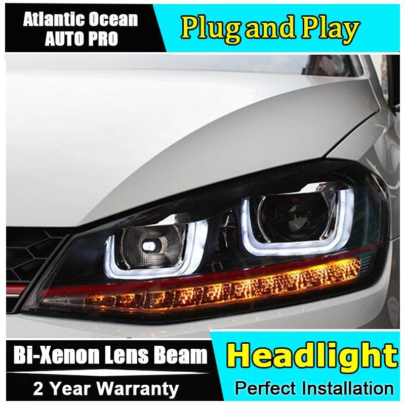 AUTO PRO Vw Golf 7 Headlights Bi Xenon Double Lens LED Angel Eyes DRL Vw Golf