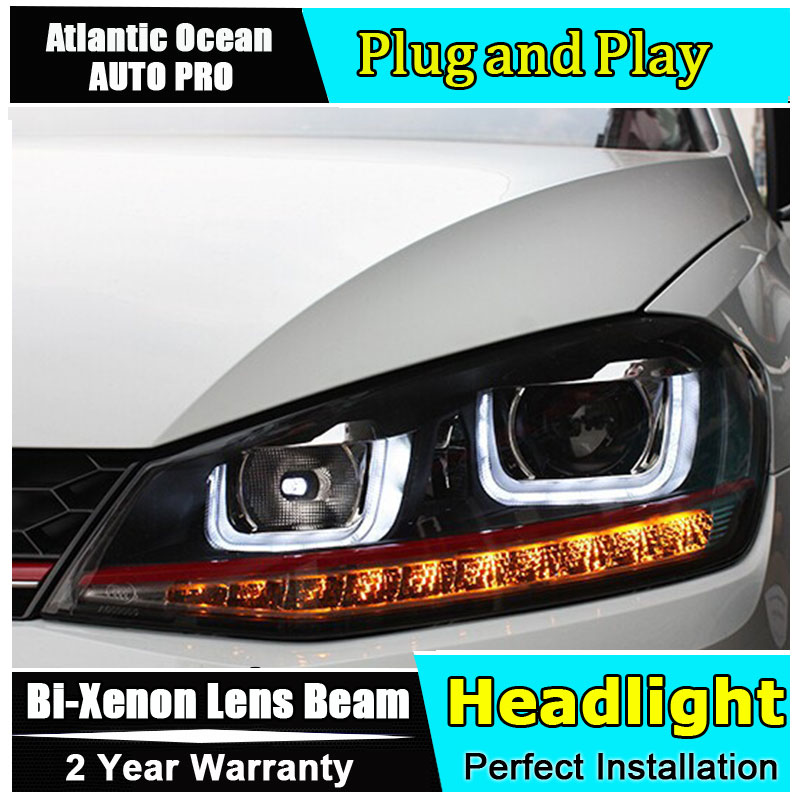 AUTO.PRO vw golf 7 headlights Bi-xenon Double lens LED Angel Eyes DRL vw golf mk7 head lamps car styling HID KIT LED light guide led headlights for vw volkswagen golf 6 mk6 2010 2014 uu type drl led headlights demon eyes