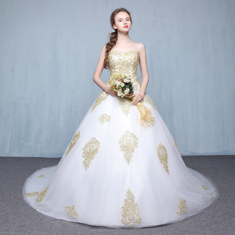 Vintage Weiß Gold spitze Brautkleid ballkleid 2017 Einfache Elegante ...