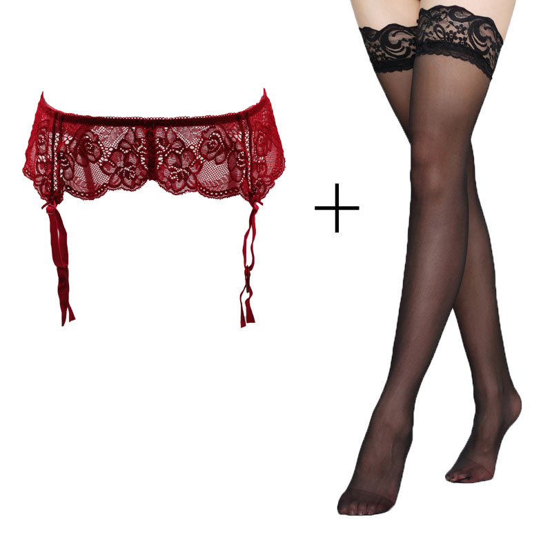 Sexy Garters Red Lace Bow Classic Metal Buckles Clips Garter Belts with Black stocking set for Women/female/lady, Sexy Lingerie