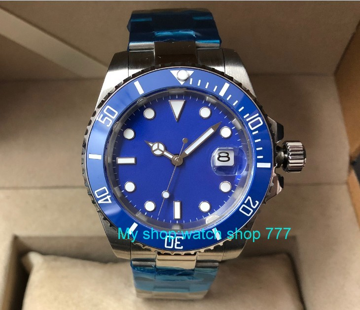 40mm PARNIS Sapphire Glass blue ceramic Bezel Automatic Self-Wind movement Men Watches Blue dial Mechanical watches pa65-p840mm PARNIS Sapphire Glass blue ceramic Bezel Automatic Self-Wind movement Men Watches Blue dial Mechanical watches pa65-p8