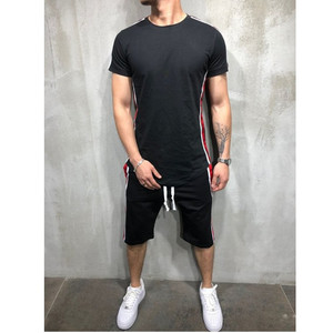 Image 3 - Мужская футболка из 2 предметов; летняя хлопковая футболка с короткими рукавами; шорты; спортивный костюм