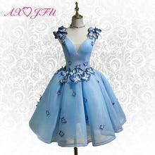 AXJFU производительность синий вечернее платье es Короткие Бабочка Вечернее платье es Мода бабочка плечо цветок вечернее платье