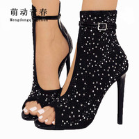 Women Pumps 2018 Fashion Gladiator Thin Heel Peep Toe High Heels Shoes Women Crystal Rhinestone Buckle