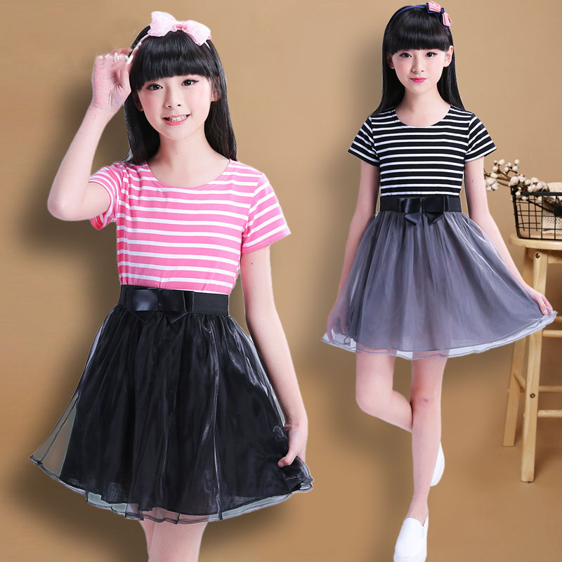 New 2017 girls dress summer Stripe sweet princess dress  girls for 7 - 14 years child dress cotton with short sleeves brand
