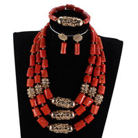 Traditional Nigerian Wedding Coral Beads Jewelry Set Luxury Women Brides Real Coral Beads Dubai Gold Jewellery Set CNR901