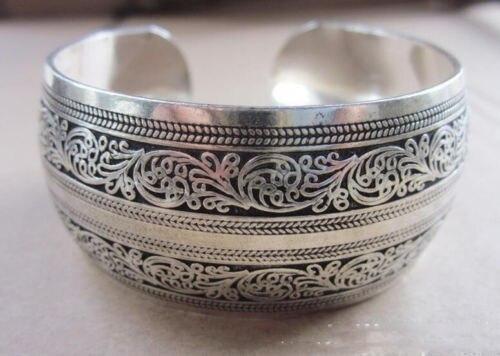 Chaud! Nouveau Bracelet de manchette en argent tibétain Tibet Totem largeur: 2.7CN