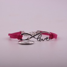 2019 New Arrival Charms Antique Silver Football Pendants Infinity Leather Bracelets Womens Gift
