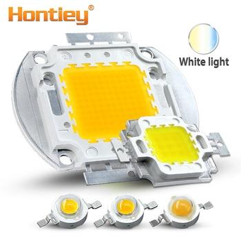 цена на Hontiey High Power LED Chip Warm Pure Cold White Lighting Beads 1W 3W 5W 10W 20W 30W 50W 100W Integrated Matrix Bulb COB Lamp