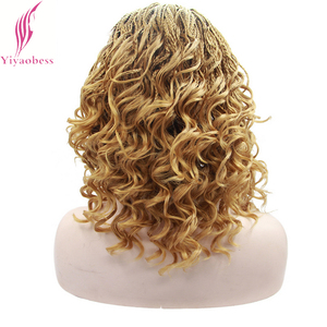 Image 3 - Yiyaobess 16inch Micro Lace Front Braid Wig Short Blonde Black Wigs For Women Heat Resistant Synthetic Hair