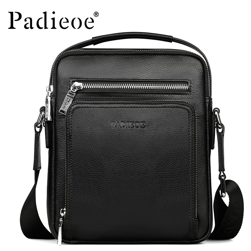 Padieoe Brand Men Shoulder Bags 100% Genuine Leather Men Messenger Bag Casual Crossbody Bag Business Men's Handbag Bags For Gift casual canvas women men satchel shoulder bags high quality crossbody messenger bags men military travel bag business leisure bag