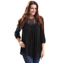 2017 Summer Women's Blouses Tops Lace Spliced Hollow Out Loose Shirt Blouse Plus Size Black Chiffon Blouse