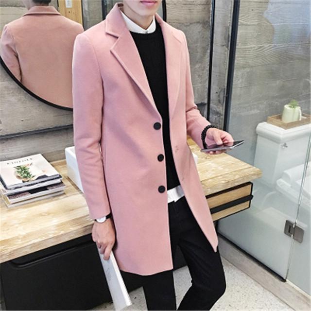 Dos homens novos 2016 moda inverno Coreano homens's cor sólida tendência de suave auto-cultivo no longo-gola do casaco de lã M-3XL