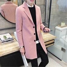 Новые мужские 2016 зима моды Корейской мужская сплошной цвет тенденция мягкая самосовершенствование в долгосрочной воротник шерстяное пальто М-3XL