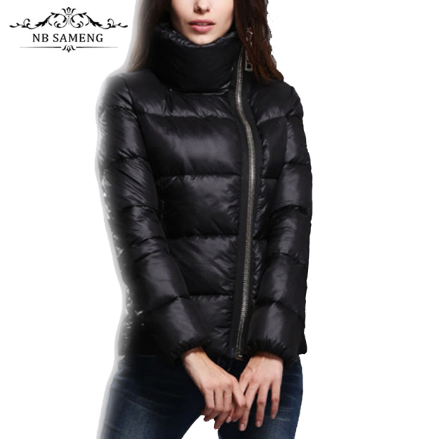 ФОТО 2017 New Fashion Winter Black Outedoor Women Stand Collar Padded Cotton Slim Jacket Female Parkas Casual Basic Wadded Plus Size