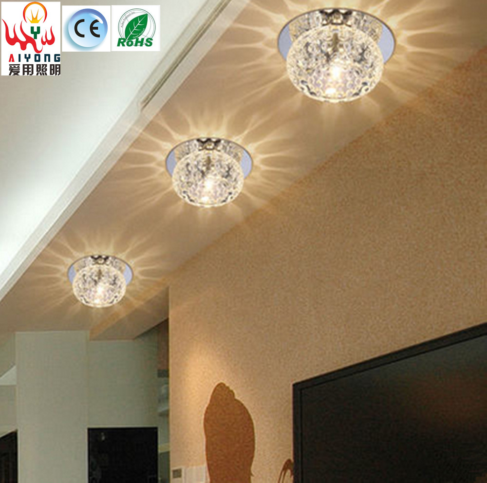ФОТО Small crystal aisle lights LED corridor lights color can be embedded foyer lights personalized porch ceiling lamps
