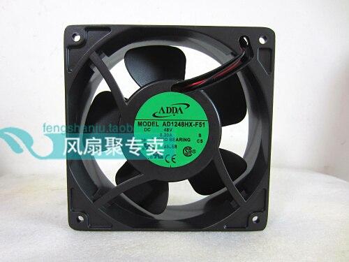 Original Taiwan hi hi ADDA AD1248HX-F51 48V0.20A aluminum frame radiator fan 12cm12038 10pcs free shipping taiwan original adda 5v 0 05a 2 5cm ultra precision cooling fan ad0205lb k50 2506 25x25x6mm