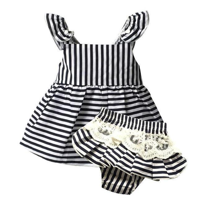 Baby Girl Одежда марка Новорожденный рукавов Полосой пояса Бальное платье + кружева Shorts1year день рождения детская одежда девочка установить bebes