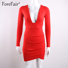 Forefair 2017 New Arrival Women Autumn Winter Long Sleeve Dress Sexy Deep V Neck Backless Sheath Bodycon Party Dresses