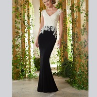 Gorgeous Sheath Cap Sleeves Appliques Sweep Train Chiffon Women's Dresses mother of the bride dresses plus size