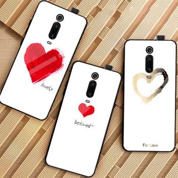 Preciosa Funda de vidrio templado para teléfono para xiaomi redmi mi 9T K20 Pro mi 9T Funda con patrón de pareja amante Funda de lujo