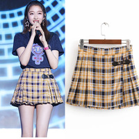 New TRAF L72031 fashion in the wind of tall waist plaid printed folding skirts Women's wear short skirt