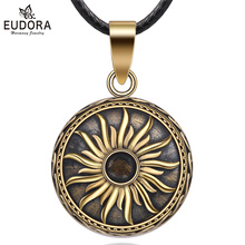 Eudora Copper Vintage Sunflower Mexican Harmony Bola Ball  Pendant Necklace for Pregnancy Baby fine Jewelry N14NB324