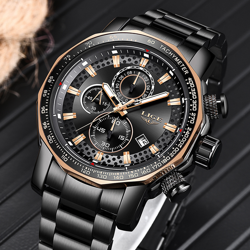 Hot DealsLIGE Mens Watches Quartz-Clock Chronograph Waterproof Sport Top-Brand Full-Steel Luxury