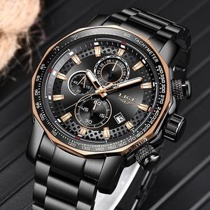 Image 3 - Relogio Masculino LIGE New Sport Chronograph Mens Watches Top Brand Luxury Full Steel Quartz Clock Waterproof Big Dial Watch Men