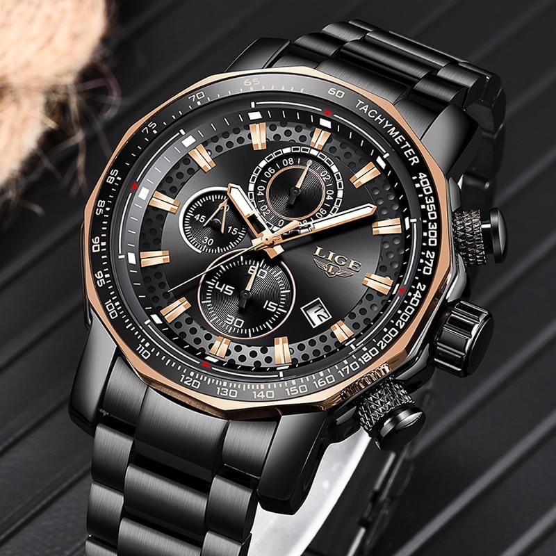 Relogio Masculino LIGE nouveau Sport chronographe hommes montres Top marque de luxe en acier complet Quartz horloge étanche grand cadran montre hommes - 3