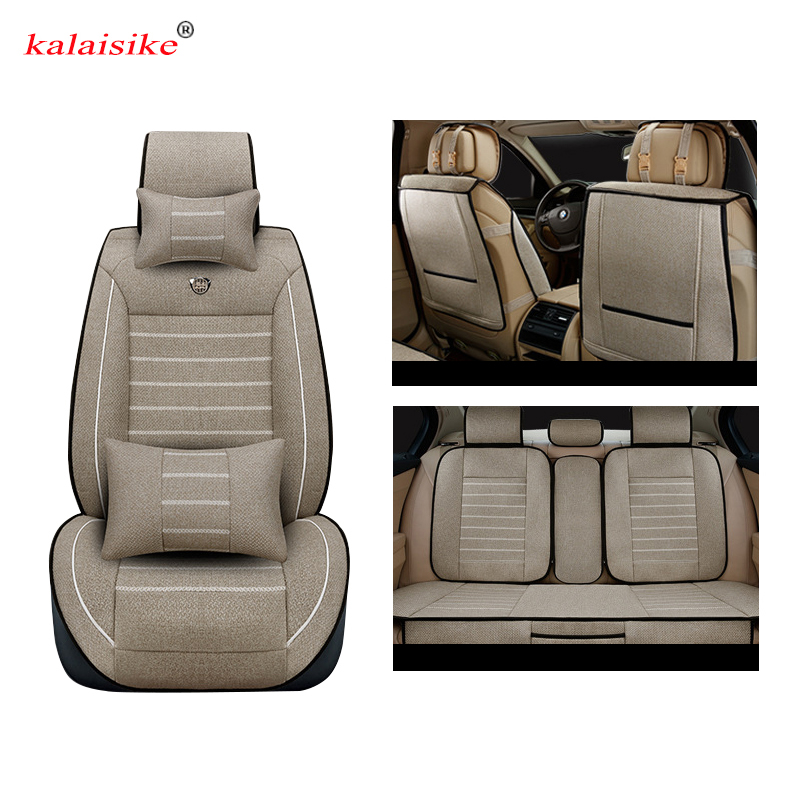 Kalaisike Linen Universal Car Seat cover for Fiat all models palio albea Bravo Freemont 500 car styling accessories auto Cushion vehicle car accessories auto car seat cover back protector for children kick mat mud clean bk