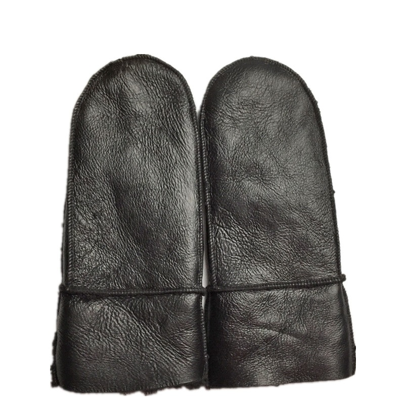 Genuine Leather And Fur Mitten Winter Wool And Fur One Piece Windproof Women Warm Black Beige Brown Wholesale A702