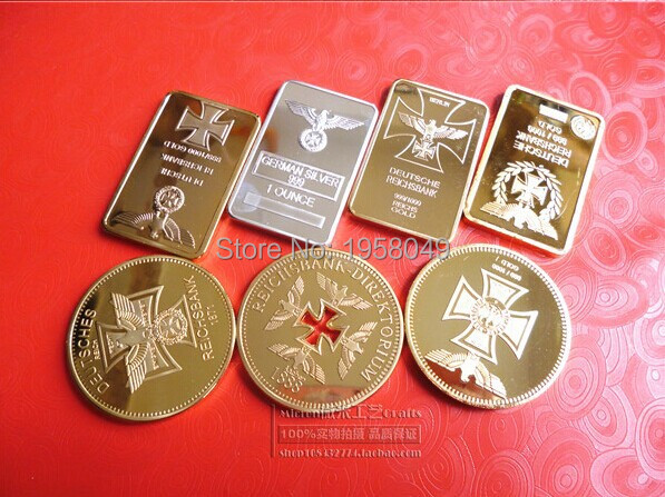 WW2 germany coin collection set ! 7 pcs GOLD plated german coin collection set free shipping
